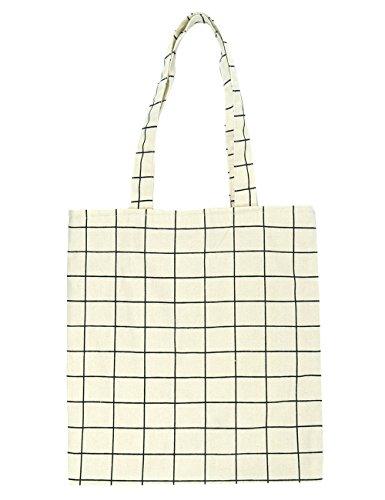 POPUCT Women's Canvas Plaid Shoulder Handbag Bag(White-1)