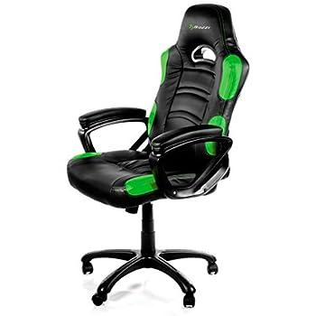 Arozzi Enzo Series Gaming Racing Style Swivel Chair, Black/Green