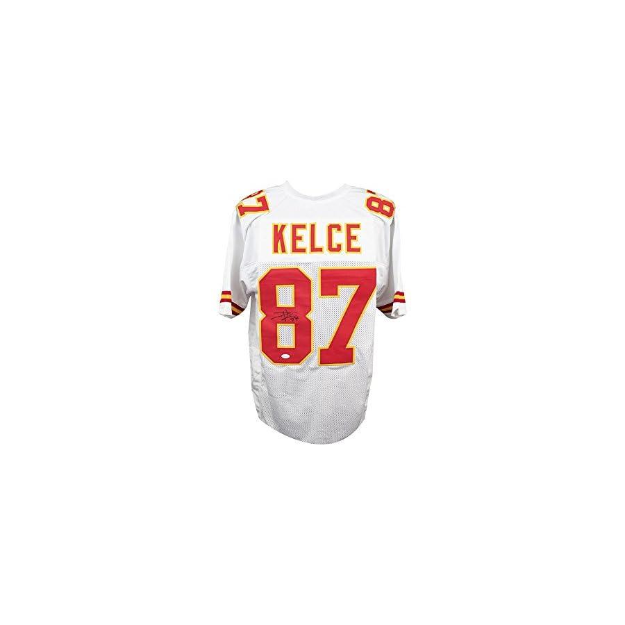 Travis Kelce Autographed Kansas City Chiefs Custom White Football Jersey JSA COA