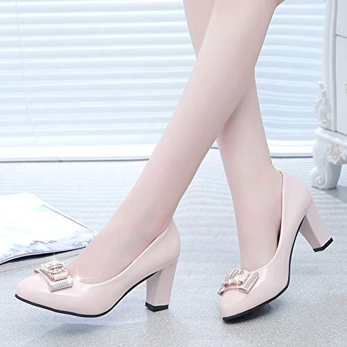 Mujer Tacón Alto Trabajo Moda Beige Zapatos Yukun Gruesos Con Otoño De Pu Solos RqEfxBXWn