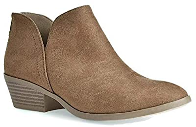 City Classified Women's Ankle Bootie Side V Cut Low Chunky Stacked Heel