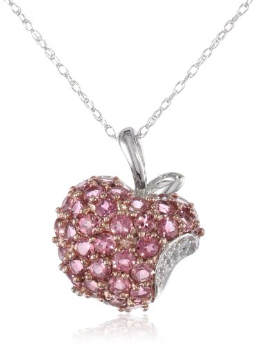 10k White & Rose Gold Pink Tourmaline Apple Pendant with Diamond-Accent (0.04 cttw, I-J Color, I2-I3 Clarity), 18