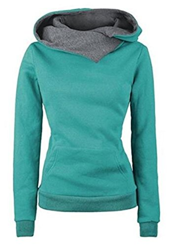Giubbotto Giacca Donna Collo Green Moda Lunga Elegante Alto Felpa Outerwear Cappuccio Manica Autunno Pullover Sweatshirt AILIENT Con Inverno Casual xO4RAqA