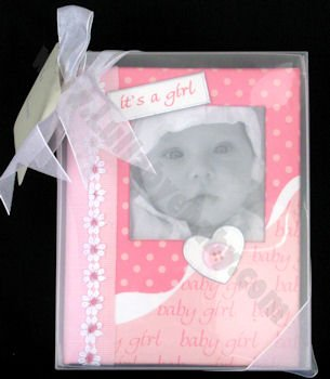 """IT'S A GIRL Baby's First PHOTO ALBUM/PINK/SHOWER GIFT/Christening/HOLDS 100 PICTURES/Brag Book 4"""" x 6"""" Photos/NEW MOM/PINK"""