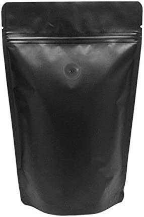 BAP 100 8 oz Matte Black Stand Up Pouch with Valve for Coffee