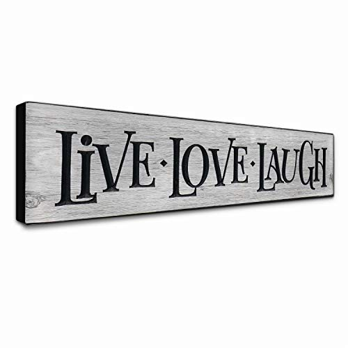 LACOFFIO Live Love Laugh Wall Decor - Rustic Gray Inspirational Quotes Art Plaque for Kitchen, Bedroom, and Laundry - Motivational Wooden Signs Handcrafted in The - Kitchen Plaque Decorative