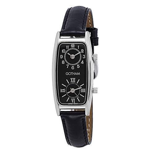 Gotham Women's Silver-Tone Dual Time Zone Leather Strap Watch # GWC15093SB