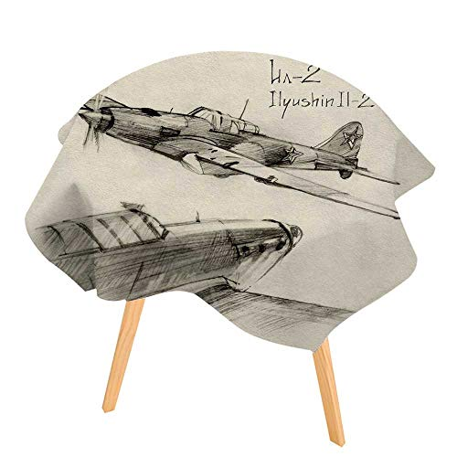 (PINAFORE 100% Polyester Printed Table Airplane Hand Drawn Series of Soviet MilitaryEnginery Jets Flights World War Aviation Sketch Black for Home, Restaurants, Cafés 40
