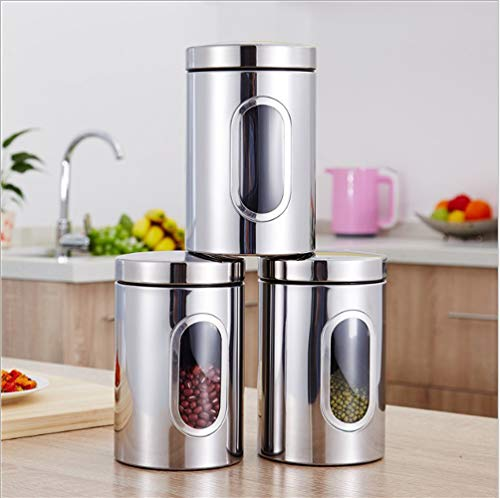 3Pc Food Storage Can Canister Set with Airtight Lid,Glass Window Stainless Steel,Transparent sealed cans (Silver)