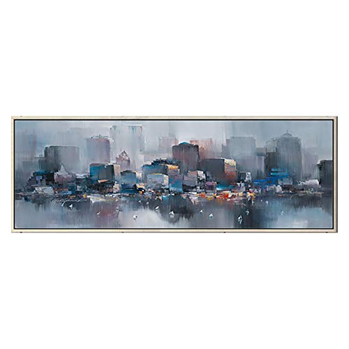 Modern City Street View Cityscape Building Artwork Abstract Oil Paintings Wall Art for Living Room Canvas Print Home Decor with Super Long Framed Ready to Hang,F
