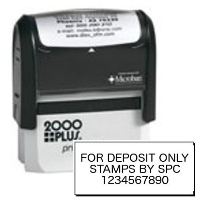 Stamps By SPC // COMPACT // Custom Company/Business Bank Endorsement (Deposit) Stamp // 2000 Plus Stamp // Impression: 9/16' x 1 1/2' // Available In 8 Vibrant Colors Of Ink!