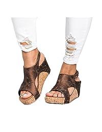 Inkach Wedge Sandals ❤️ Fashion Womens Summer Boho Chunky Heeled Sandals Thick-Bottom Platform Shoes