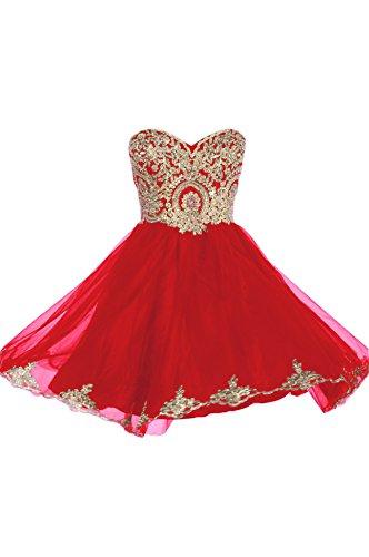 Prom Dresses Short Lace Prom Homecoming Dresses Affordable Beautiful Sparkly Dress, Color Red,12