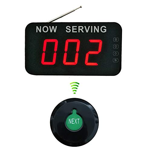 Wireless Take A Number System Simple Queue Management System with 3 Digits Display and Call Button Ycall ()