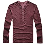 Easytoy Mens Vintage Solid Henley T-Shirts Long Sleeve Crew V Neck with Button Slim Fit Thermal Classic Cotton Tops (Wine, M)