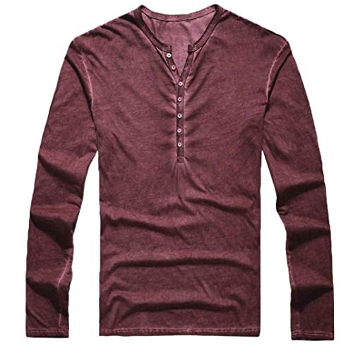 Easytoy Mens Vintage Solid Henley T-Shirts Long Sleeve Crew V Neck with Button Slim Fit Thermal Classic Cotton Tops (Wine, M) by Easytoy
