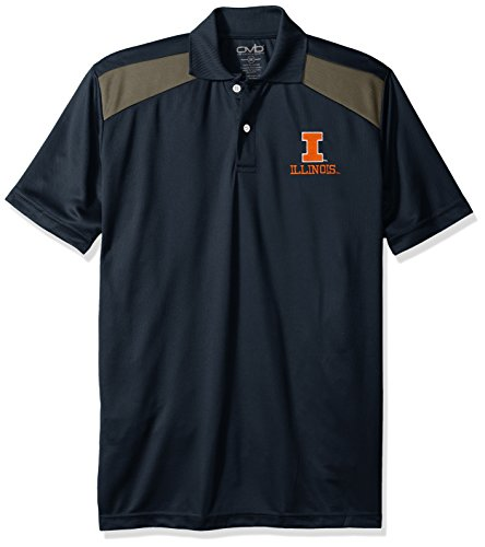 NCAA Illinois Illini Men's CTR Logo Polo Shirt, Medium, Navy/Charcoal