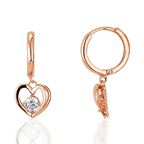 14k Rose Gold Petite Hoop Earrings with Dangling 3D Heart and CZ Accents