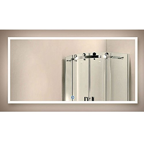 DECORAPORT 55 Inch 28 Inch Horizontal LED Wall Mounted Lighted Vanity Bathroom Silvered Mirror with...