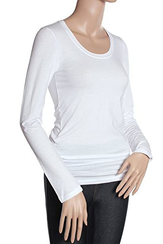Active Basic Women's Basic Scoop Neck Tops, white, l