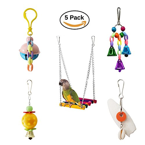 Bwogue 5pcs Bird Parrot Toys Hanging Bell Pet Bird Cage Hammock Swing Toy Hanging Toy for Small Parakeets Cockatiels, Conures, Macaws, Parrots, Love Birds, (Hanging Parakeets)
