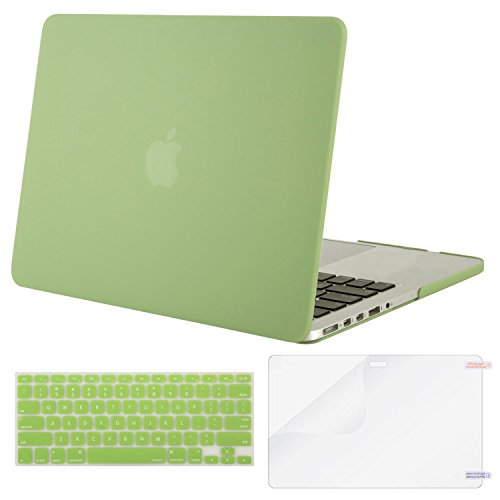MOSISO Case Only Compatible MacBook Pro (W/O USB-C) Retina 13 Inch (A1502/A1425)(W/O CD-ROM) Release 2015/2014/2013/end 2012 Plastic Hard Shell & Keyboard Cover & Screen Protector, Chartreuse