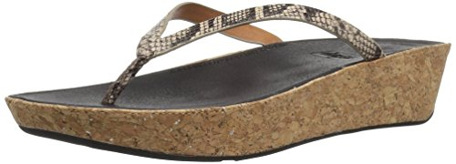 Taupe Snake (FitFlop Women's Linny Toe-Thong Sandals - Leather, Taupe Snake, 8 M US)