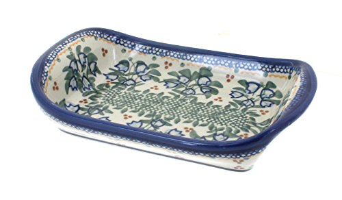 Polish Pottery Bluebell Small Rectangular Tray with Handles