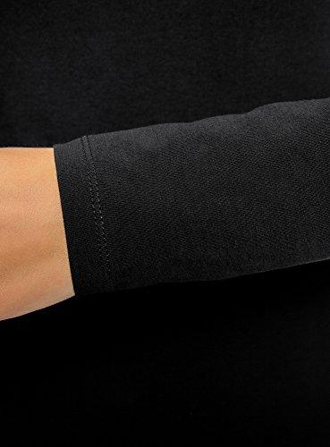 Donna A Lunghe Oodji Maglia Ultra Maniche 2900n Buffo Nero Cotone In OTpqx5Swq