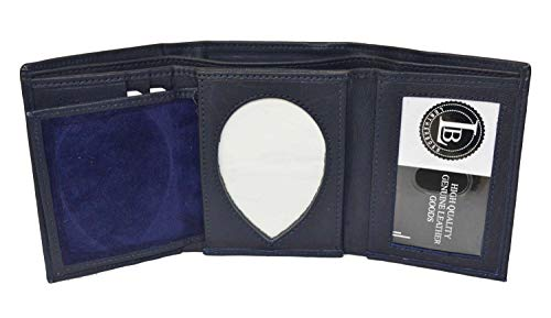 (Mens Leather Wallet Sheriff Officer Police Shield Fire Security Id Holder New ! (Blue))
