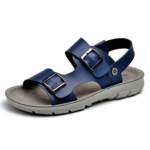 HUO Hausschuhe Männer Jugend Mode Sandalen Dual Use Personality Soft Bottom Beach Schuhe Beiläufige Breathable Wasserdichte Anti-Rutsch-Hausschuhe Schwarz Blau Kühle atmungsaktiv ( Farbe : Blau , größ B