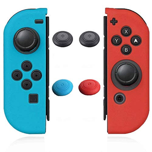Joycon Cover Protector Joy Cons Grip Gel Guard Switch Joy Cons Controllers Silicone Skin Anti-Slip Joy-Con Skin Joycons Covers Joy Con Case Shell Pair with 4 Stick Caps Neon Blue Red -Jamont