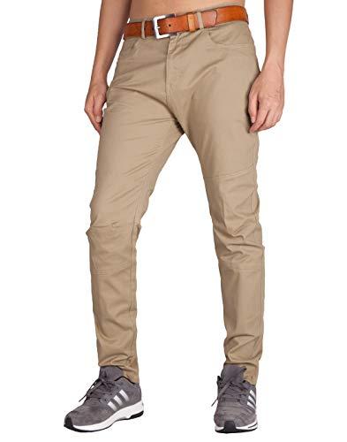 ITALY MORN Men's Chino Flat Front Casual Pants 38 Khaki
