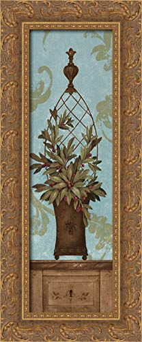 Blue Olive Topiary I 11x24 Gold Ornate Wood Framed Canvas Art by Gladding, Pamela
