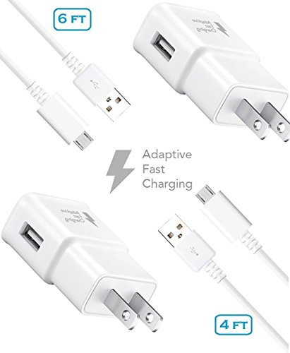 - Verizon Samsung Galaxy J Charger Fast Micro USB 2.0 Cable Kit by Truwire - {2 Fast Wall Charger + 2 Cables 4 Ft & 6 Ft}