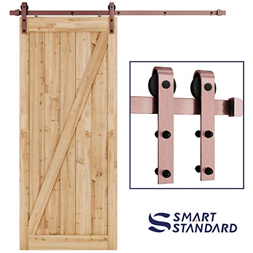 (SMARTSTANDARD 6.6ft Heavy Duty Red Copper Sliding Barn Door Hardware Kit -Smoothly and Quietly-Easy to Install - Includes Step-by-Step Installation Instruction Fit 36