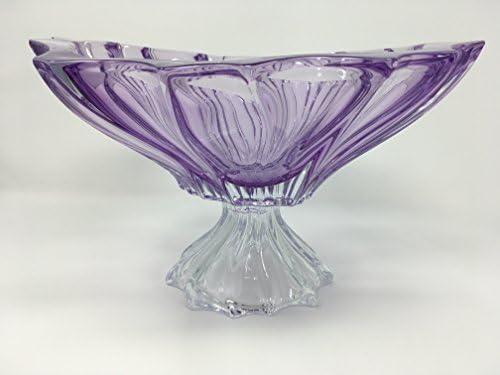 BOHEMIAN CRYSTAL GLASS FOOTED BOWL-VASE 12 -Dia. Plantica AMETHYST-PURPLE DECORATIVE GIFT ELEGANT CENTERPIECE VINTAGE DESIGN FRUITS CANDIES DESSERTS FLOWERS CLASSIC CZECH CRYSTAL GLASS