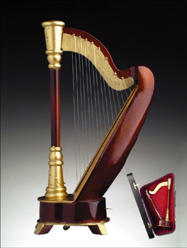 simply-classy-grand-brown-harp-music-box-playing-amusic-of-the-nighta-with-click-here-to-purchase-en