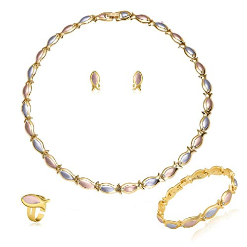 Moochi 18K Gold Plated Africa Necklace Earrings Ring Bracelet Jewelry Set