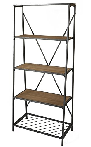Uniquewise 4-Shelf Wooden Bookcase, Wood and Metal Bookshelf (Wide 26 Bookcase)