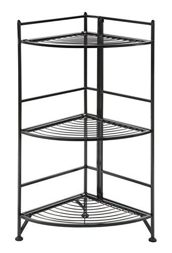 Convenience Concepts Designs2Go 3-Tier Folding Metal Corner Shelf, Black