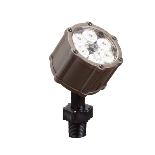 Kichler Lighting 15743AZT LED Accent Light 6-Light Low Voltage 60 Degree Wide Flood Light, Textured Architectural Bronze with Clear Tempered Glass