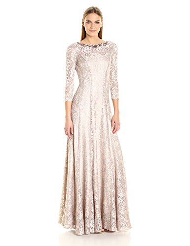Tahari by Arthur S. Levine Women's Long Sleeve Stretch Lace Gown, Champagne/Gold, 14 -
