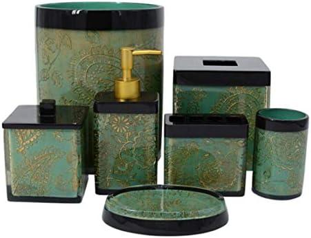 YULINGTRADE クリエイティブ 7ピース 浴室 アンサンブル アクセサリーセット 樹脂ヨーロッパ風 バス アクセサリー バスセット ローション ボトル、歯ブラシホルダー、タンブラー、石鹸皿、紙 ティッシュ ペーパー ボックス、ゴミ箱と 綿棒ボックスふた付き 7ピース 装飾バス手 (Color : Green)