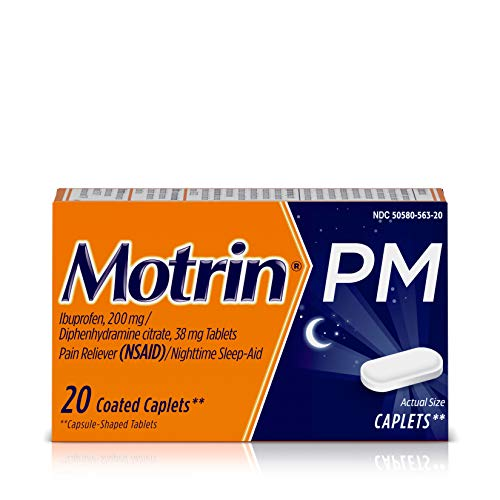 Motrin PM Caplets, Ibuprofen, Relief from Minor Aches and Pains, Nighttime, 20 Count