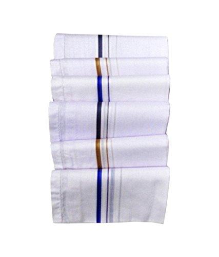 Kuber Industries™ Assorted Design White Pack of 12 Handkerchief for Men