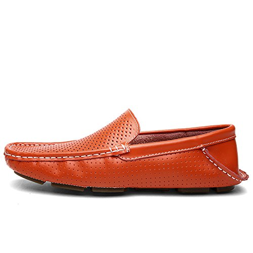 los Orange Suave Suela Plana on Conducción Hollow Vamp de Loafers Hombres Slip Mocasines Penny vxPAO5q