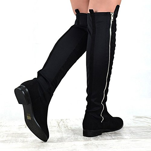 Boots Stretch Over High Faux Elastic ESSEX Knee Pull Black Zip Suede GLAM Ladies On Block The Heel Womens Owqx64F
