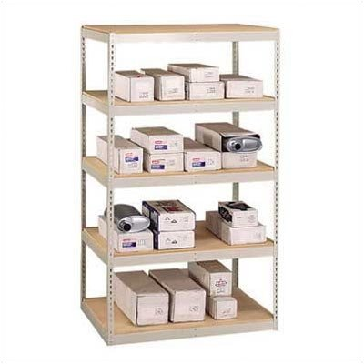 "Penco 46W48HP Starter Unit Double Rivet Shelving with Center Support, 5 Shelf, 96"" x 36"" x 120"", (723) Light Putty Color"