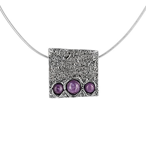 Paz Creations ♥925 Sterling Silver Charoite Square Pendant with Omega, Made in Israel